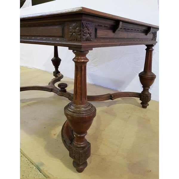 Rectangular Carved Antique French Jacobean Style Oak Dining Table For Sale - Image 9 of 12