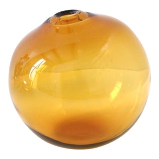 "SkLO Float Glass Vessel 8"" - Amber For Sale"