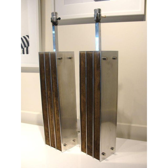 A Stunning Pair of Laurel Lamps in Polished Aluminum & Suede - Image 2 of 5