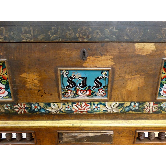 Antique Mexican Hand Painted Wedding Trunk - Image 3 of 5