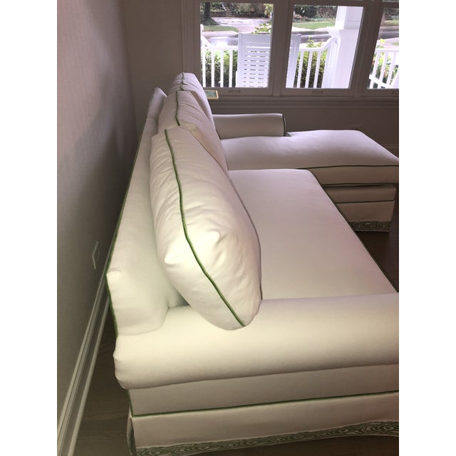 Fabric Custom White Cripton Sectional With Green Piping and Trim For Sale - Image 7 of 9