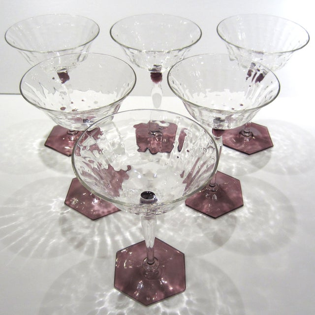 Amethyst & Clear Textured Cocktail Glasses - S/6 - Image 5 of 11