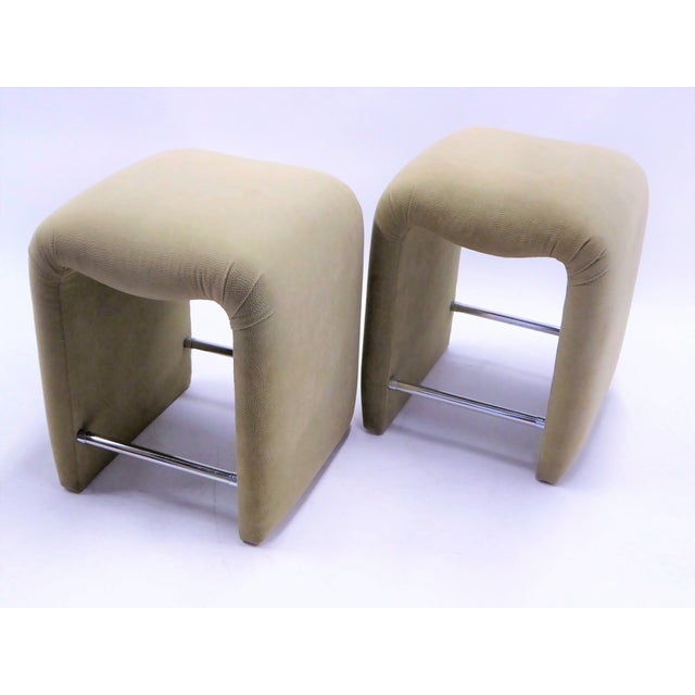 Luxurious Modern Faux Ostrich Upholstered Stools 1970s - Image 3 of 13