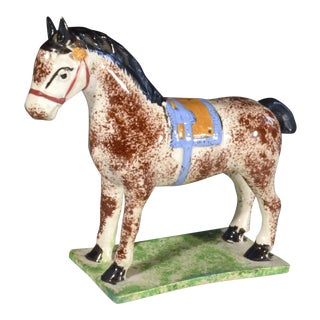 Newcastle Prattware Pottery Model of a Horse, Probably St. Anthony Pottery, Newcastle upon Tyne., Circa 1800-10.