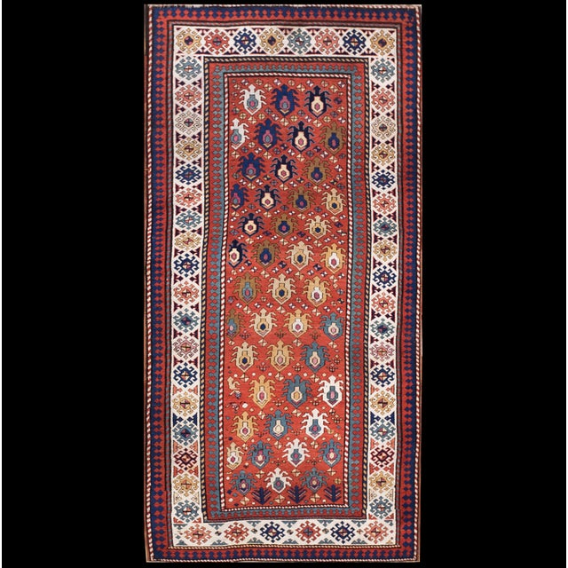 "Textile Antique Caucasian - Kazak Rug 4'0"" X8'6"" For Sale - Image 7 of 7"