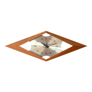 Mid-Century Modern Kienzle Teak Diamond Wall Clock For Sale