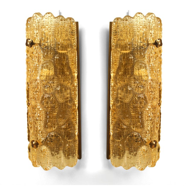 """Nils Landberg Mid-20th Century Orrefors Swedish """"Crocodile"""" Textured Wall Sconces - a Pair For Sale - Image 4 of 4"""
