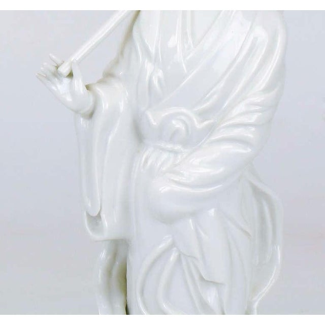White Pair Blanc De Chine Female Figure Table Lamps For Sale - Image 8 of 9