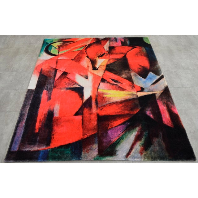 "Franz Marc ""Foxes"" Inspired Area Rug - 4′10″ x 5′9″ For Sale - Image 5 of 10"