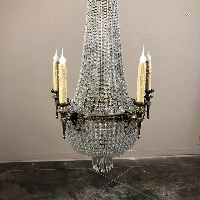 Antique Sack of Pearls Crystal Chandelier For Sale - Image 10 of 13