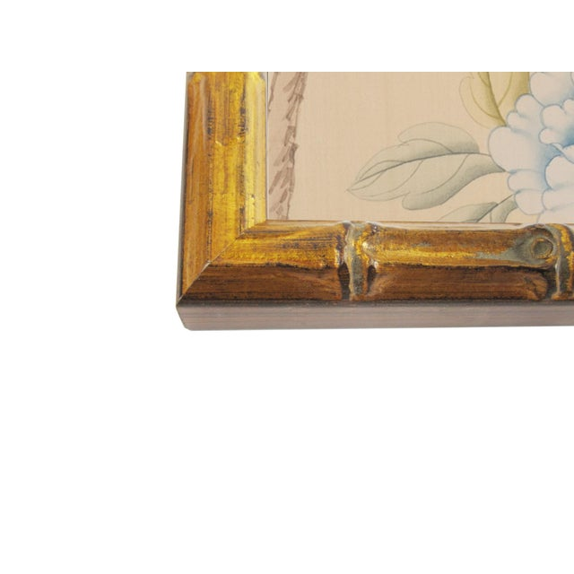 1970s Vintage Chinoiserie Female Courtesan and Botanics in Gilt Faux Bamboo Frame For Sale - Image 5 of 6