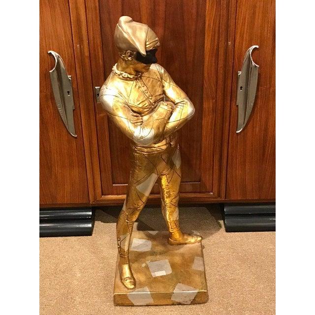 Hollywood Regency Hollywood Regency Standing Gold and Silvered Harlequin Sculpture For Sale - Image 3 of 12