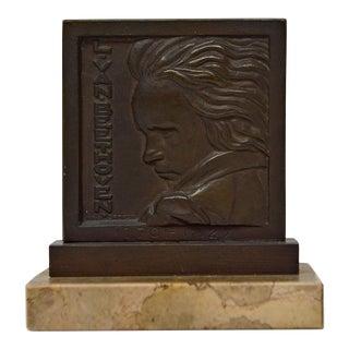 """Henri Dropsy """"Beethoven"""" Bronze Medal, 1920s For Sale"""