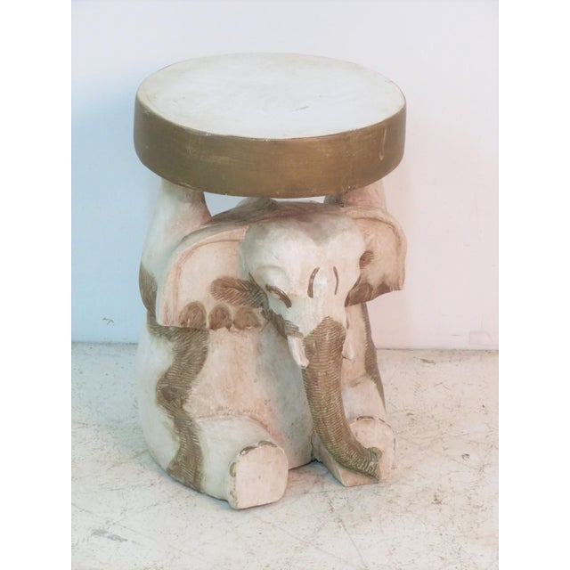 Mid 20th Century Elephant Carved Wood Garden Stool For Sale - Image 5 of 5