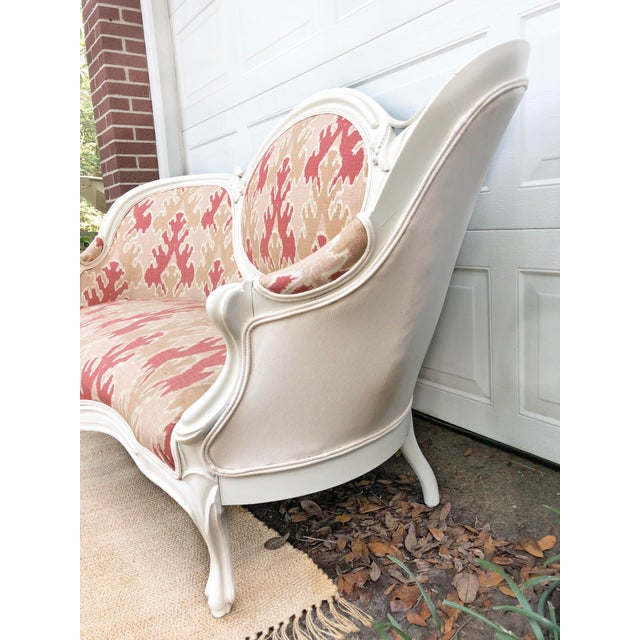 Victorian Transitional Upholstered Settee For Sale - Image 4 of 6