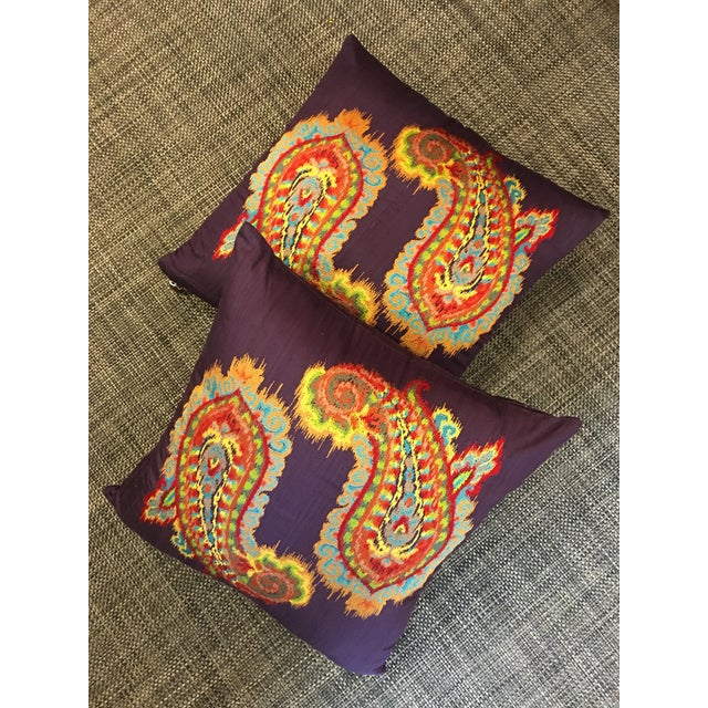 2010s Silk Ikat Paisley Pillows-Pair For Sale - Image 5 of 5