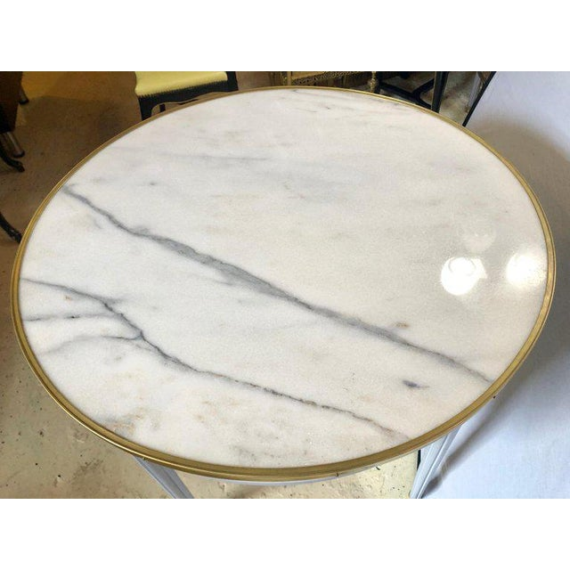 White Pair Large Hollywood Regency Painted Bronze Mounted Bouiliotte Center End Tables For Sale - Image 8 of 13