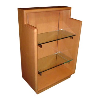 Wooden Display Case With Two Glass Shelves For Sale
