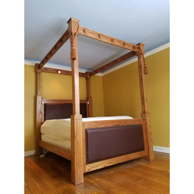 Custom made mission style cross cut oak queen size tall - Bed made of balls ...