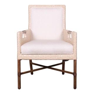 McGuire Organic Modern Woven Bamboo Rattan and Hardwood Lounge Chair For Sale
