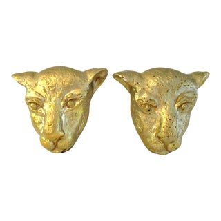 Gold Plaster Hanging Leopard Faces - a Pair