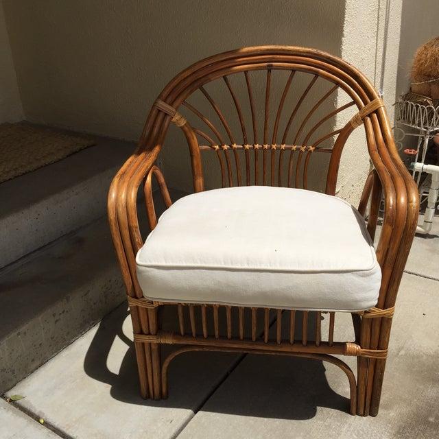 Vintage Boho Rattan & Bamboo Armchair - Image 7 of 8