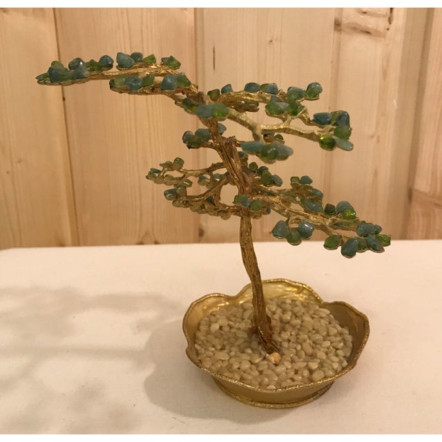 Mid-Century Modern Agate Bonsai Tree in Gold Dish - Image 5 of 10