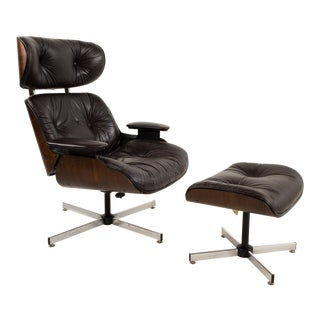 Plycraft Dark Brown Leather Lounge Chair and Ottoman
