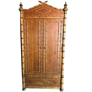 French Colonial Faux Burnt Bamboo Armoire For Sale