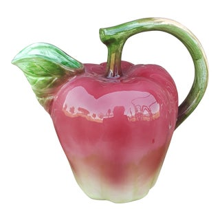 Apple Trompe l'Oeil Majolica Pitcher For Sale