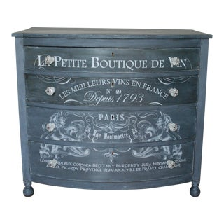French Design Grey Bow Front Dresser