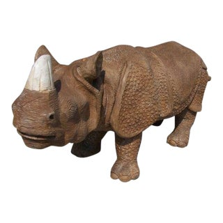 1940s Vintage Whimsical Carved Wood Rhino Sculpture For Sale
