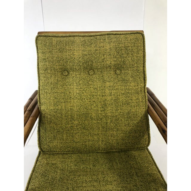Bamboo Mid Century Boho Chic Bamboo Lounge Chair With Green Upholstery For Sale - Image 7 of 13