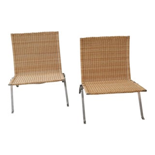 Pair of PK 22 Poul Kjaerholm Danish Mid-Century Modern Wicker Lounge Chairs For Sale