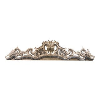 18th Century French Painted Carved Wood Pediment For Sale