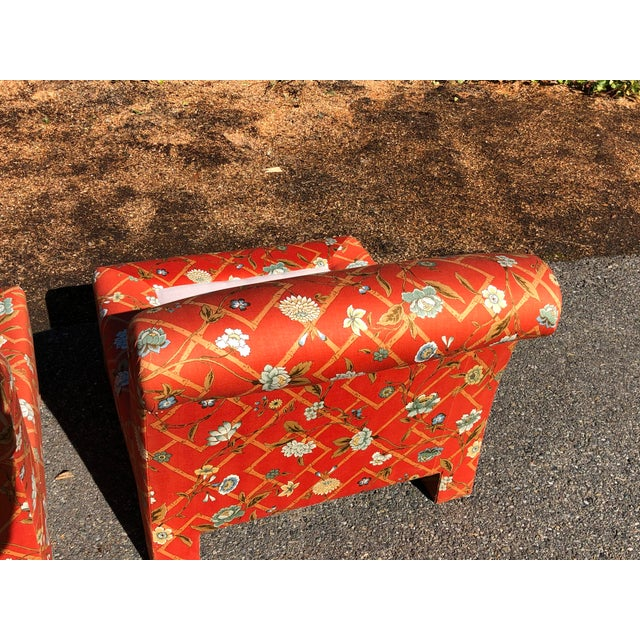 Wood 1960s Vintage Custom Upholstery Scroll Back Chinoiserie Slipper Chairs- A Pair For Sale - Image 7 of 11