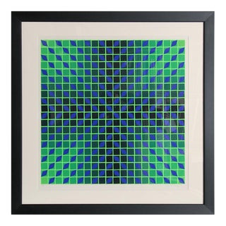 Jindey, Framed OP Art Serigraph by Vasarely For Sale