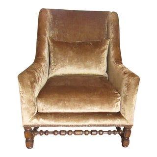 Marge Carson Crushed Velvet and Metallic Leather Accent Side Chair For Sale