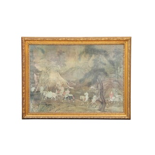 Gilt Wood Oriental Horse Ride Artwork For Sale