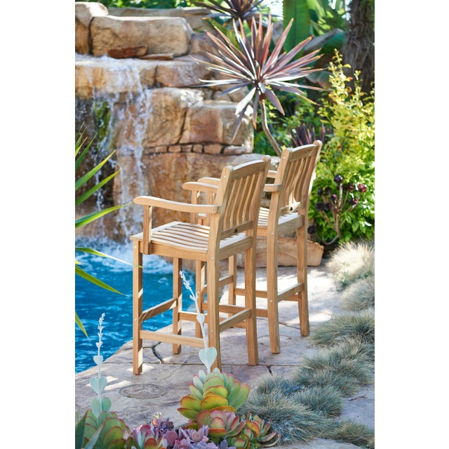 Contemporary Oasis Teak Outdoor Bar Armchair For Sale - Image 3 of 5
