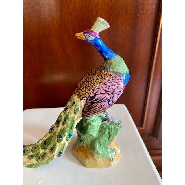 Early 20th Century Early 20th Century Dresden Figurine Peacock For Sale - Image 5 of 13