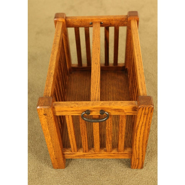 Mission Mission Style Solid Oak Magazine Stand For Sale - Image 3 of 12