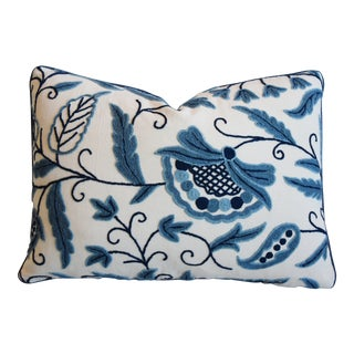 "Chic Designer Blue & Cream Lee Jofa Crewel Pillow 23"" X 17"" For Sale"