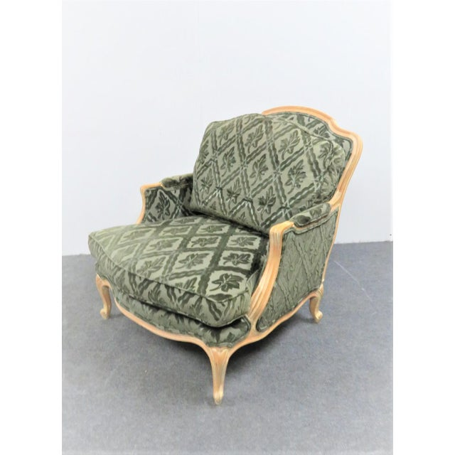 Brown Louis XV Style Pickled Finish Bergere & Ottoman For Sale - Image 8 of 12