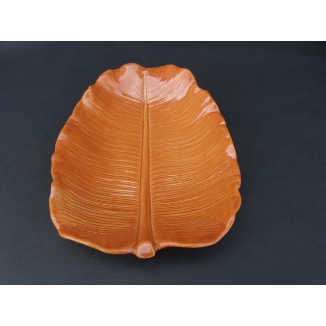 1940s Orange Newell Stevens Leaf Decorative Plate For Sale - Image 4 of 6