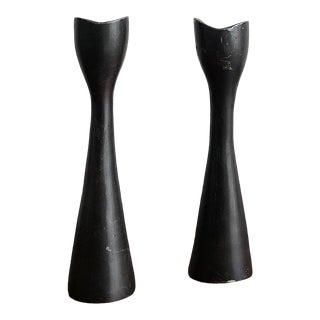 1960s Cast Metal Mid-Century Tulip Candleholders - a Pair For Sale