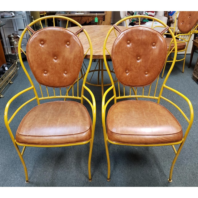 Mid 20th Century Mid Century Faux Burlwood Yellow Enamel Painted Metal Dinette Set - 5 Pieces For Sale - Image 5 of 11
