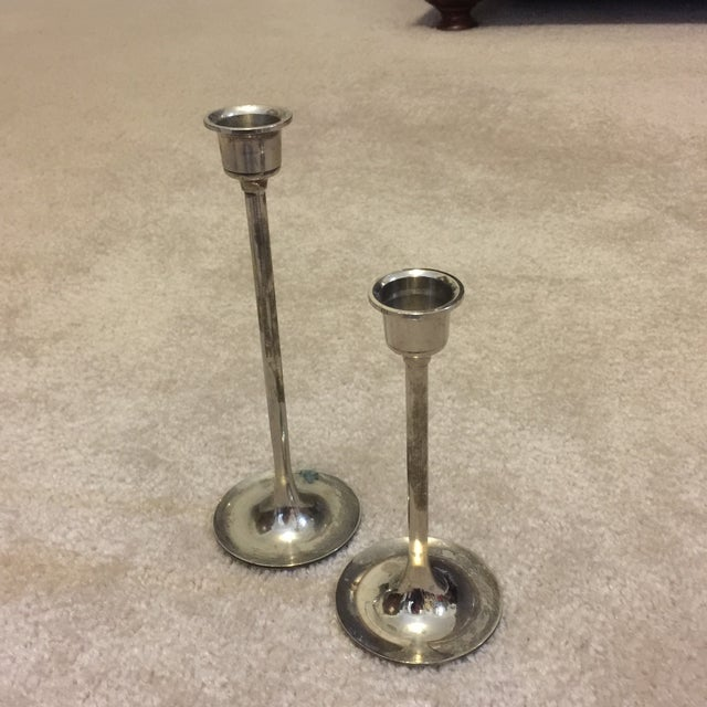 Brass and Silver Plated Candlesticks - Pair - Image 3 of 8