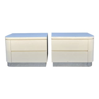 Postmodern Laminated Large Bedside Tables - a Pair For Sale