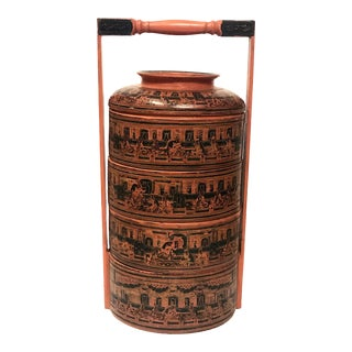 Vintage Burmese Lacquer Four Tier Wedding Basket / Stacking Boxes For Sale